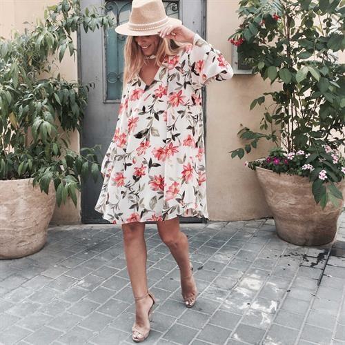 שמלת גסיקה פרחוני לבן