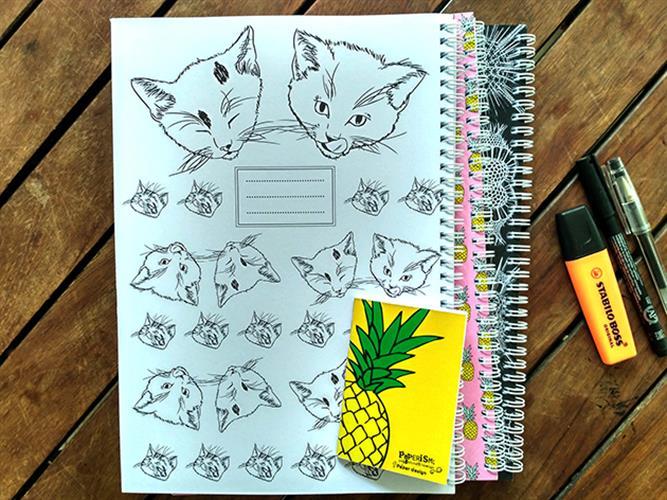 מחברת ספירלה  - איור חתולים