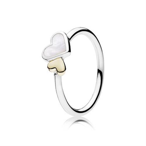 טבעת כסף פנדורה לבבות זוהרים 190998MOP