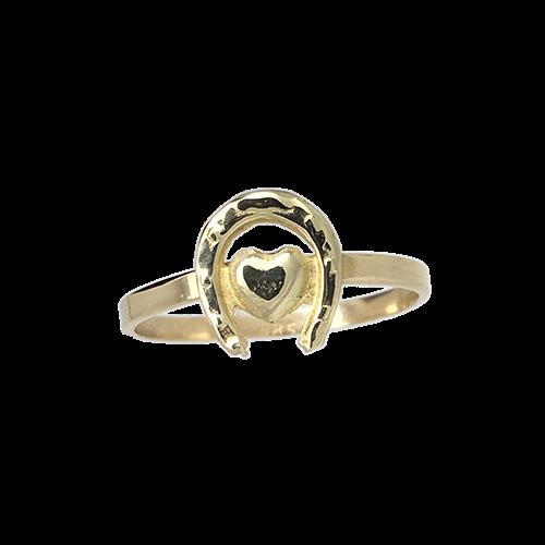 טבעת ילדות זהב צהוב 14K לב פרסה OP11140016512