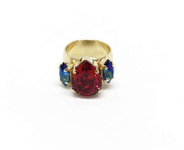 טבעת קלייר זרת אדום זהב