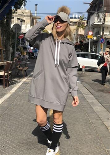 שמלת פולו אפורה