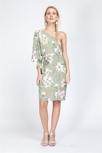 שמלת בברלי פרחוני ירוק