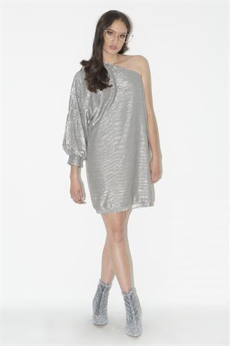 שמלת גניפר פייטים כסף