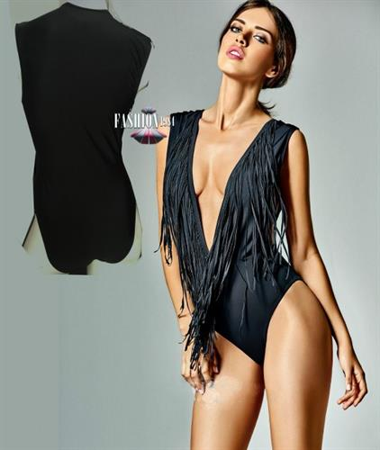 בגד ים מעוצב דגם אמדנה לין (צבע שחור)