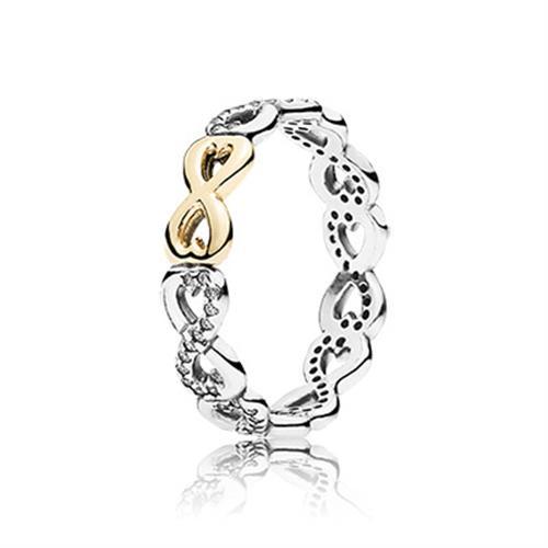 טבעת כסף וזהב פנדורה 190948CZ INFINITE LOVE RING