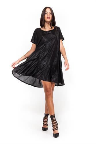 שמלת עלמה שחורה לורקס טקסטורה